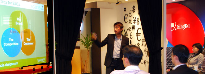 Kelvin Ng, Acacia's Director of Branding at SingTel Seminar addressing Branding for SMEs